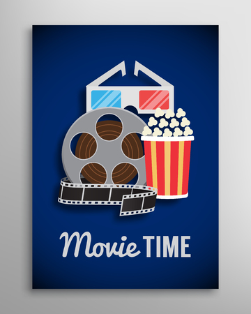 motion picture: Cinema , movie trailer advertisement with reel, popcorn, glass and ribbon. illustration Illustration