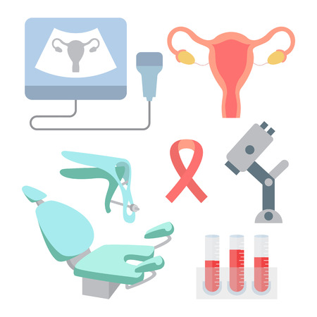 Gynaecologie pictogrammen. Gynaecologisch onderzoek en preventie van baarmoederhalskanker. Gynaecologie vector illustratie.