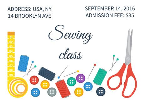 coser: Set de costura con herramientas de costura, hilos y botones. Invitación para la clase de costura. ilustración vectorial Vectores