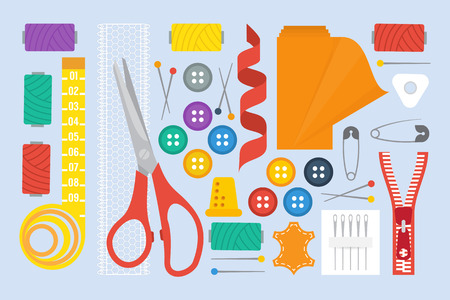 fabric roll: Sewing set with sewing tools, scissors and fabric roll. Tailor sewing kit. Vector illustration