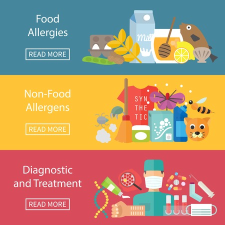Allergies banner set with allergens diagnostics and allergy treatment. Vector illustration Vectores