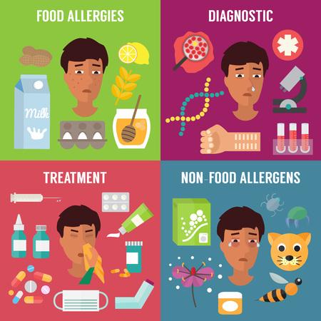 Alergia establece con alergenos diagnóstico y tratamiento de la alergia. Los síntomas de alergia. ilustración vectorial Ilustración de vector