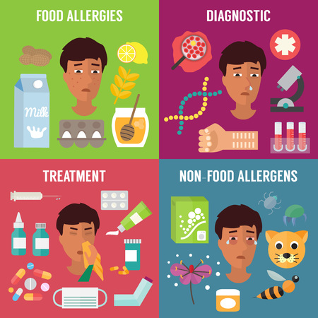 asthma inhaler: Allergy set with allergens diagnostics and allergy treatment. Allergy symptoms. Vector illustration