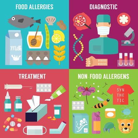 alergenos: Alergia infograf�a con los al�rgenos de diagn�stico y tratamiento de la alergia. Alergia ilustraci�n conjunto de vectores Vectores