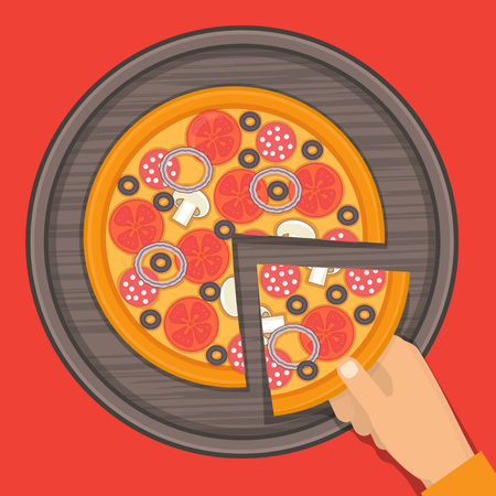 pizza ingredients: Pizza on the board. Hand holding slice of pizza. Pizza ingredients vector illustrations.