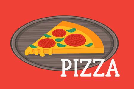 pizza slice: Pizza on the board. Pizza restaurant advertising. Vegetarian pizza slice vector illustrations. Illustration