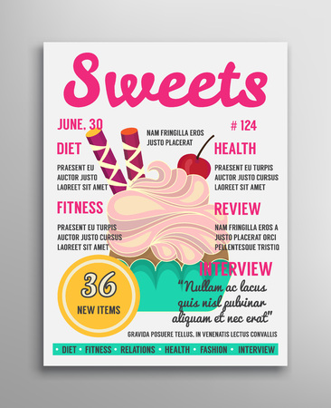 read magazine: Magazine cover  template. Sweets cover. Bakery cover magazine illustration. Vector magazine. Illustration