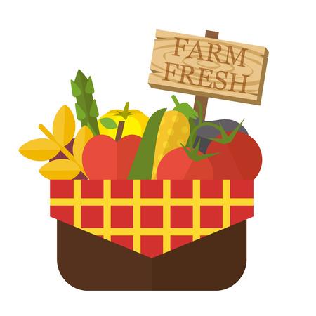 fruit and veg: Organic food basket. Basket with fresh organic food and sign. Organic vegetable basket. Food vector illustration