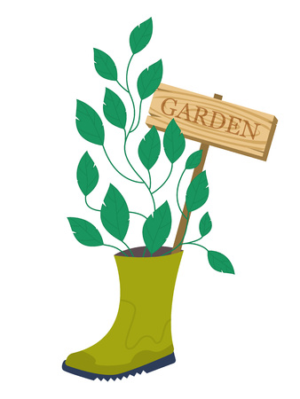 spring bed: Garden flower bed. Garden decoration. Plant growing from rubber boot with garden sign. Vector illustration