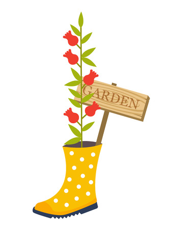 flower bed: Garden flower bed. Garden decoration. Red flower from boot. Vector illustration