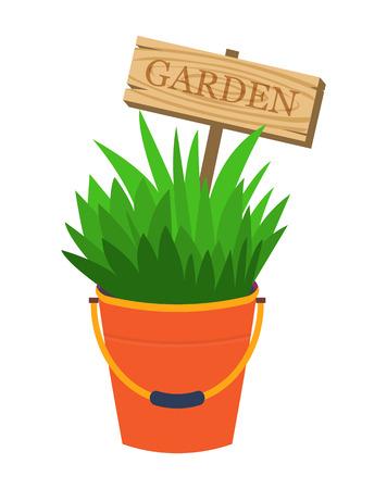 flowerbed: Garden flower decoration bed. Garden decoration. Bucket with plants and garden decoration sign. Vector illustration