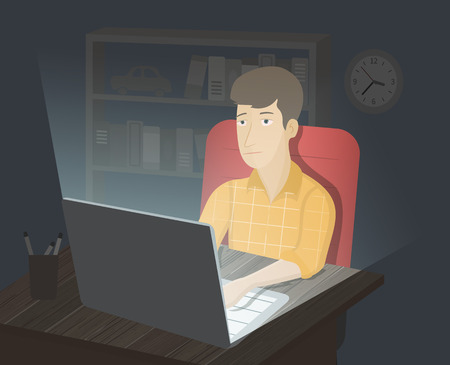 dependence: Internet addiction. Computer addiction. Man surfing in internet at night. Internet dependence. Addiction illustration