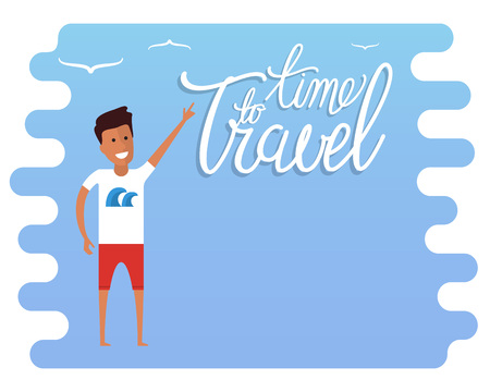 advertisement: Summer travel advertisement. Travel time sign. Travel agency advertisement with place for text. Flat vector travel illustration.
