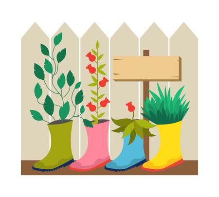 flowerbed: Garden decoration. Original garden flower pot from boots. Vector garden illustration