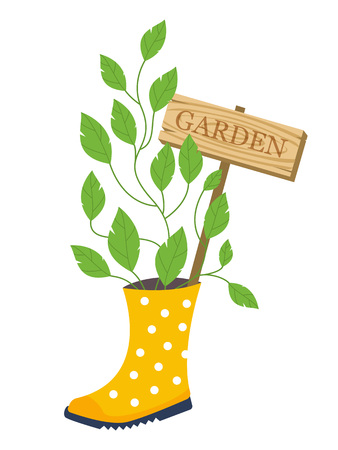 garden plant: Garden flower bed. Garden decoration. Plant growing from rubber boot with garden sign. Vector illustration