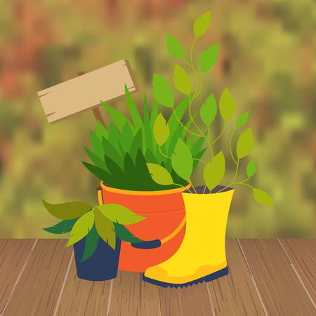 cama jardín de flores y macetas. Decoración olla. Original jardín maceta de flores de botas y baldes. Vector ilustración jardín