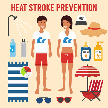 Heat sun stroke prevention. Healthcare summer infographic, Vector illustration Stock fotó - 56589546