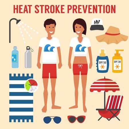 Heat sun stroke prevention. Healthcare summer infographic, Vector illustration