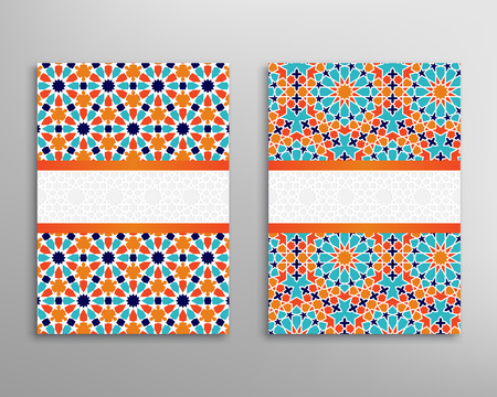 Islamic pattern cover. Brochure and flyer in islamic design. Vector geometric background in islamic style