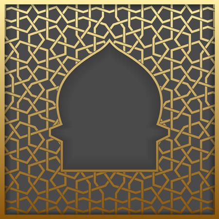arabesque pattern: Islamic greeting card. Islamic Ramadan decoration. Islamic golden mosque vector illustration.