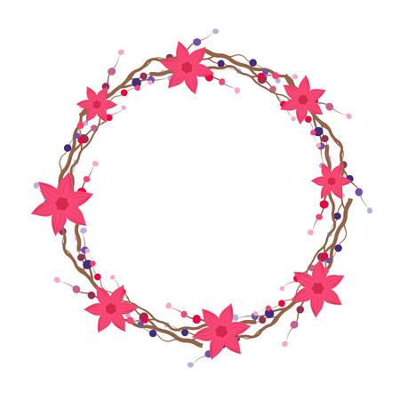 Marco de la flor del vector. Corona de flores. Plantilla con ilustración de flor Ilustración de vector