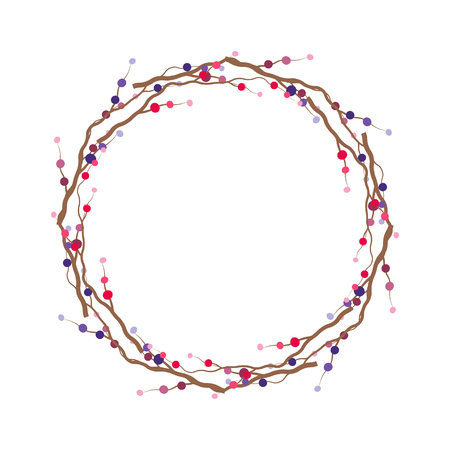 date fruit: Vector branch frame.Branch wreath. Template with branch and berry illustration Illustration