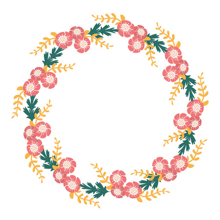 invitation frame: Vector flower frame. Flower wreath. Circle from leaf, branch and flower. Greeting template with flower illustration.