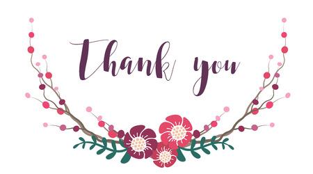 Dank je wel belettering. Dank je wel zin. Dank u ondertekenen met bloem krans. Vector belettering illustratie