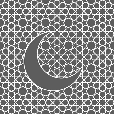 islamic pattern: Islamic greeting card with moon. Islamic Ramadan decoration. Islamic pattern vector illustration. Illustration