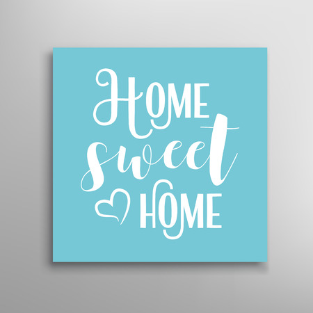 sweet: Home sweet home sign. Calligraphic hand drawn lettering.