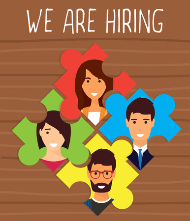 recruiting: Human resources, recruiting concept. We are hiring puzzle.