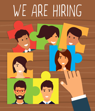 Human resources, recruiting concept. We are hiring puzzle.