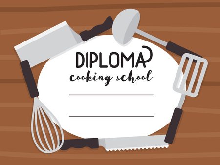 school class: Cooking school diploma. Culinary class certificate.