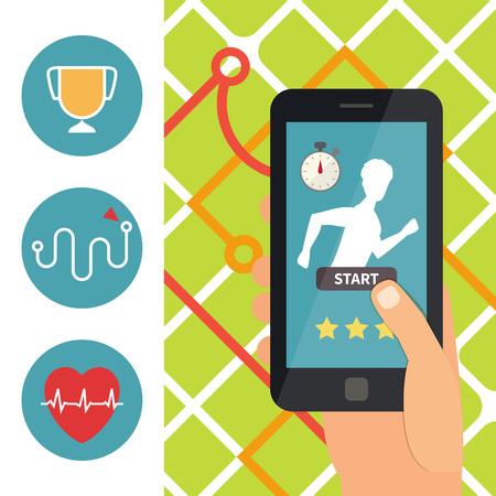 sports app: Sport fitness mobile application. Running app on smartphone. Flat design vector Illustration