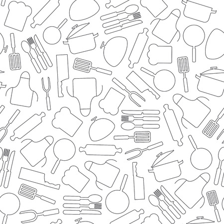 cooking utensils: Cooking seamless pattern. Kitchen utensils vector background