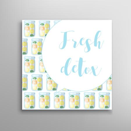 Jar with fresh juice seamless pattern. Detox vector invitation Illustration