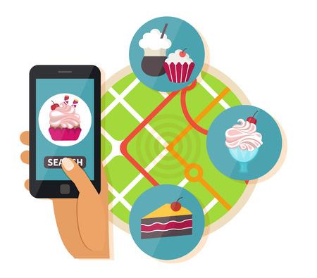 Online restaurant zoeken. Navigatie mobiele technologieën, online zoete eten bestellen. Vector illustratie Vector Illustratie