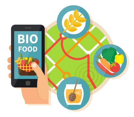 Online bio products search. Navigation mobile technologies, online food order. Vector illustration