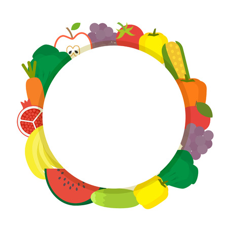 fruit and veg: Healthy food round banner. Vegetarian fruit and vegetables. Vector illustration