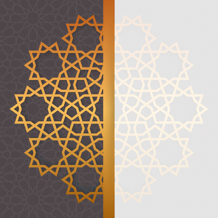 Geometric islamic pattern invitation. Eid al adha greeting card template in arabian style Illustration