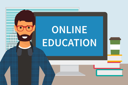 Online education. Distance education through internet. Training and online study.  illustration Illustration