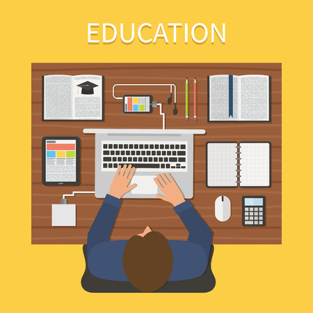 Modern education. Online study, e-learning. Student at a laptop with books and digital gadgets. illustration 일러스트