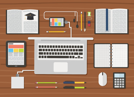 student with books: Education. Student workplace with laptop, books and digital gadgets. illustration