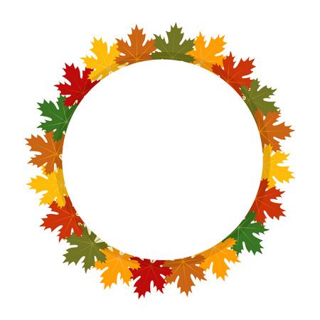 etiqueta redonda otoño. Las hojas de arce ilustración Ilustración de vector