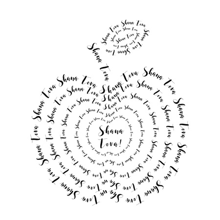 rosh hashanah: Rosh Hashanah - Jewish New Year. Apple made from lettering text Shana Tova - greeting text. illustration Illustration