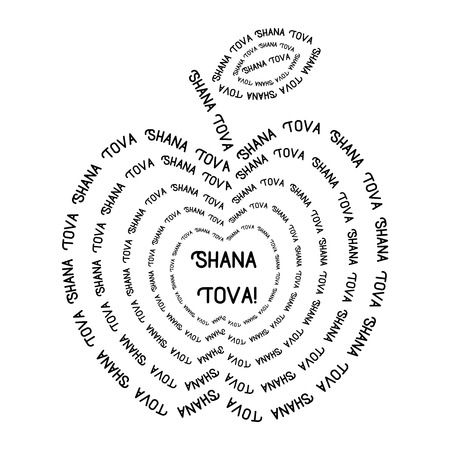 shana tova: Rosh Hashanah - Jewish New Year. Apple made from lettering text Shana Tova - greeting text. illustration Illustration