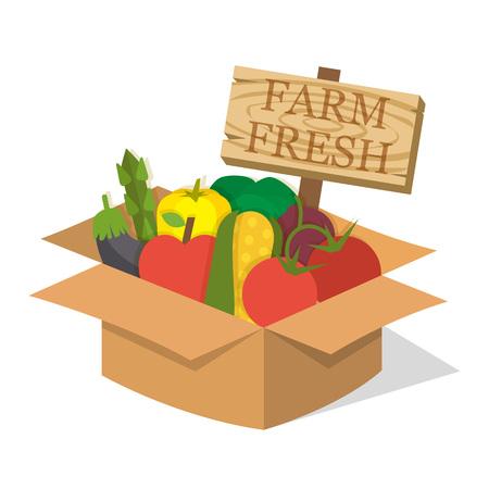 fruit and veg: Organic food basket. Basket with fresh organic food and sign. Organic vegetable basket. Food illustration Illustration