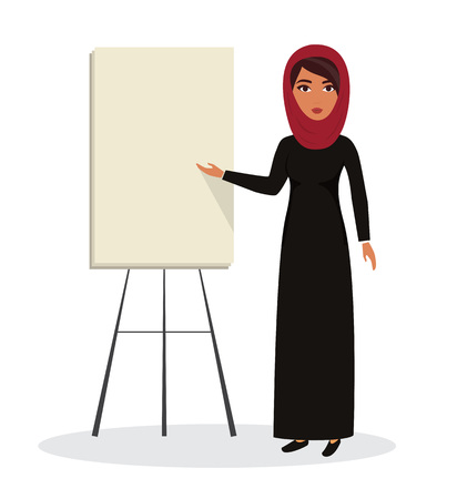 Arab business woman, teacher profession with place for advertising. Muslim businesswoman wearing hijab. character