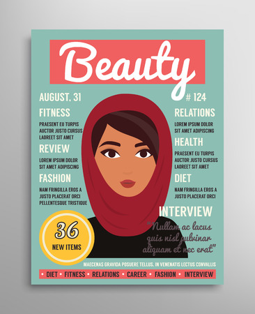 muslim fashion: Magazine cover template about beauty, fashion and health for arab muslim women. illustration. Illustration