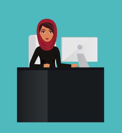 office manager: Arab business woman, office manager at computer desk. Muslim businesswoman wearing hijab. character Illustration